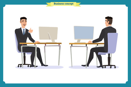 business people poses action character vector design.businessman consulting , concepts of client services and communication. call center service job character. Vector illustration cartoon character