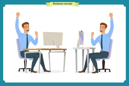 mensen uit het bedrijfsleven vormen actie karakter vector ontwerp. zakenman consulting, concepten van klantenservice en communicatie. callcenter servicetaak karakter. Vector illustratie stripfiguur
