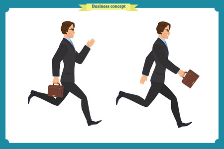 Collection set of Walking and running businessman. Walk, run, active. Variety of movements. Flat Character man cartoon style, Side view, haft front view,Vector design isolated vector. Business people Ilustração