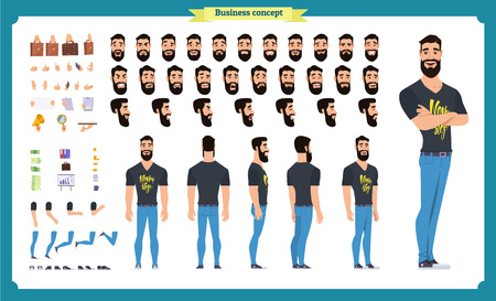 Set of flat male cartoon character body parts, skin types, facial gestures, hairstyles, trendy clothing, stylish accessories isolated on white background. Vector illustration.