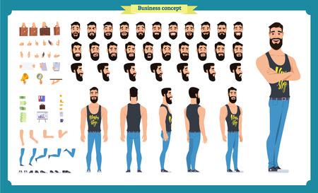Conjunto de partes del cuerpo de personajes de dibujos animados masculinos planos, tipos de piel, gestos faciales, peinados, ropa de moda, accesorios elegantes aislados sobre fondo blanco. Ilustración vectorial.
