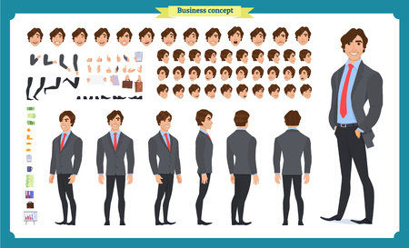 Front, side, back view animated character.   Businessman character creation set with various views, face emotions, poses and gestures.Cartoon style, flat isolated vector