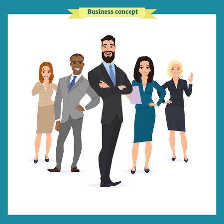 A group of people dressed in strict suit. Businesswoman character, people consulting, vector illustration in a flat style cartoon character