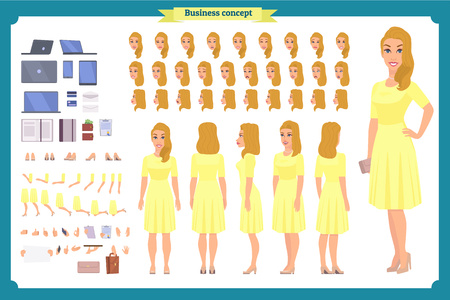 Pretty female office employee character creation set. Full length, different views, emotions gestures. Business casual women fashion. Build your own design. Cartoon flat-style infographic illustration Illustration