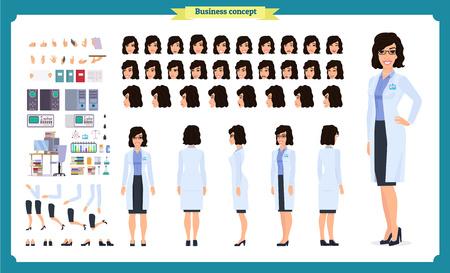 Wetenschapper tekenset creatie. Vrouw werkt in wetenschappelijk laboratorium bij experimenten. Volledige lengte, verschillende opvattingen, emoties, gebaren. Bouw je eigen ontwerp. Cartoon vlakke stijl infographic illustratie