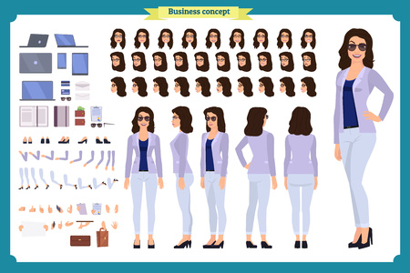 Young woman, casual clothes. Character creation set. Full length, different views, emotions, gestures, isolated against white background. Build your own design. Cartoon flat-style vector illustration