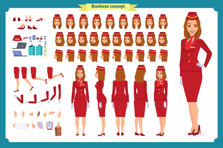 Woman character creation set. The stewardess, flight attendant. Icons with different types of faces and hair style, emotions, front, rear side. Vector flat illustration Ilustrace