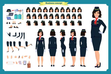 Conjunto de creación de personajes de mujer. La azafata, asistente de vuelo. Iconos con diferentes tipos de caras y peinados, emociones, parte delantera, trasera. Ilustración vectorial plana