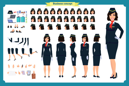 Woman character creation set. The stewardess, flight attendant. Icons with different types of faces and hair style, emotions, front, rear side. Vector flat illustration Illusztráció