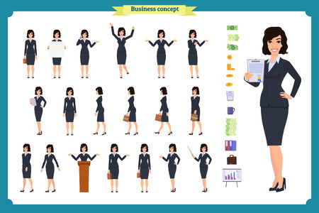 Ready-to-use character set. Young business woman in formal wear. Different poses and emotions, running, standing, sitting, walking, happy, angry. Full length, front, rear view against white background