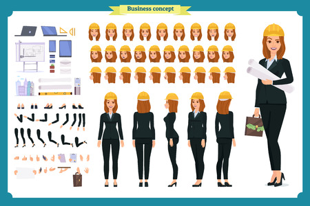 Woman architect in business suit and protective helmet. Character creation set. Full length, different views, emotions and gestures. Build your own design. Cartoon flat-style infographic illustration