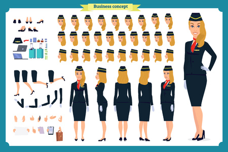 Woman character creation set. The stewardess, flight attendant. Icons with different types of faces and hair style, emotions, front, rear side. Vector flat illustration Ilustração