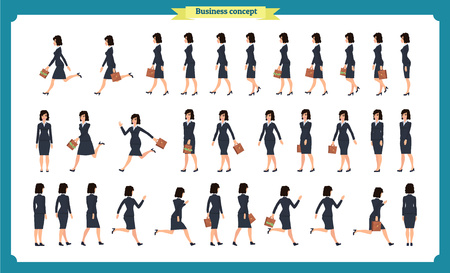Collection set of walking and running business woman.Walk, run, active. Variety of movements. Flat Character cartoon style, Side view, haft front view,Vector design isolated vector. Business people Ilustração