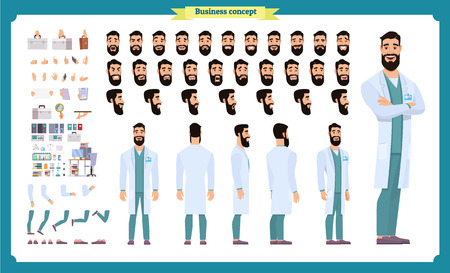 Scientist character creation set. Man working in science laboratory at experiments. Full length, different views, emotions, gestures. Build your own design. Cartoon flat style infographic illustration