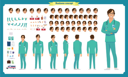 Front, side, back view animated character. Doctor character creation set with various views, face emotions, poses and gestures. Cartoon style, flat vector illustration.Isolated on white.Male doctor Ilustração