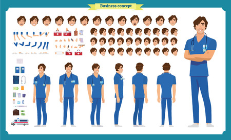 Front, side, back view animated character. Doctor character creation set with various views, face emotions, poses and gestures. Cartoon style, flat vector illustration.Isolated on white.Male doctor Illustration