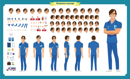 Front, side, back view animated character. Doctor character creation set with various views, face emotions, poses and gestures. Cartoon style, flat vector illustration.Isolated on white.Male doctor Vettoriali