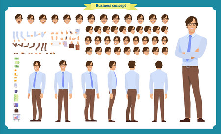 People character business set. Front, side, back view animated character.   Businessman character creation set with various views, face emotions, poses and gestures.Cartoon style, flat isolated vector Ilustração