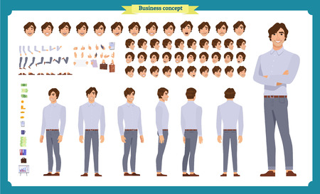 Young man in casual clothes. Character creation set. Full length, different views, emotions, gestures, isolated against white background. Build your own design. Cartoon flat-style vector illustration