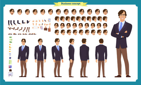 People character business set. Front, side, back view animated character. Businessman character creation set.simple, sketch, face emotions, poses and gestures.Cartoon style, flat isolated vector Ilustração