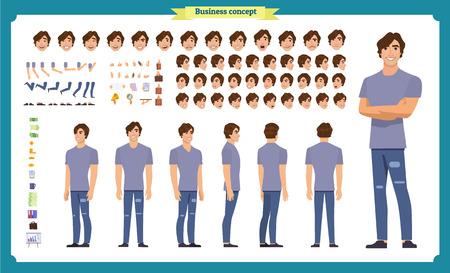 Jeune homme en vêtements décontractés. Jeu de création de personnage. Pleine longueur, différentes vues, émotions, gestes, isolés sur fond blanc. Créez votre propre design. Illustration vectorielle de dessin animé style plat