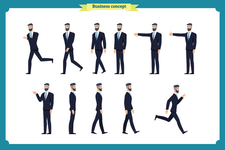 Collection set of Walking and running businessman. Walk, run, active,dislike, like. Variety of movements. Flat Character man cartoon style, Side view,Vector design isolated vector. Business people