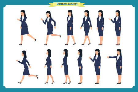 Collection set of walking and running business woman.Walk, run, like, dislike.Variety of movements. Flat Character cartoon style, Side view, haft front view,Vector design isolated. Business people