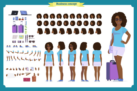 Black Tourist female, vacation traveller character creation set. Full length, views, emotions, gestures, tan skin tones, white background. Build your own design. Cartoon flat-style infographic Ilustração