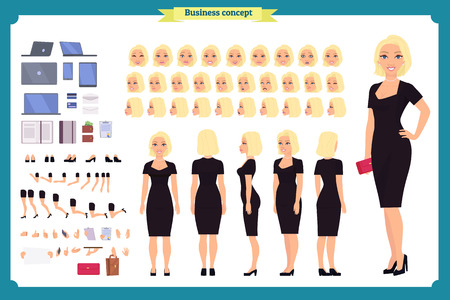 Girl in evening dress character creation set. Party woman in black trendy luxury gown. Full length, different views, gestures. Build your own design. Illustration