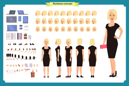 Girl in evening dress character creation set. Party woman in black trendy luxury gown. Full length, different views, gestures. Build your own design. Ilustração