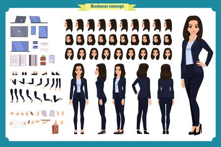 Conjunto de diseño de personajes de empresaria. Personaje animado de vista frontal, lateral y posterior. Creación de personajes de chica de negocios con varias vistas, poses y gestos. Estilo de dibujos animados, vector plano aislado