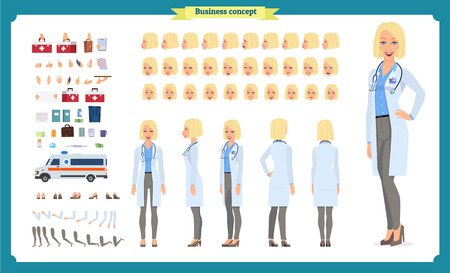 Female doctor character creation set.Front, side, back view animated character.Doctor character creation set with various views,Face emotions, poses, gestures.Cartoon style, flat vector illustrations