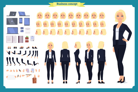 Set of Businesswoman character design.Front, side, back view animated character.Business girl character creation set with various views, poses and gestures. Cartoon style, flat vector isolated Imagens - 118830559