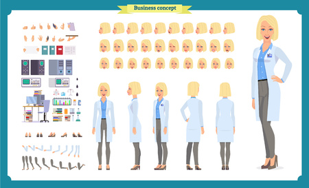 Scientist character creation set. Woman works in science laboratory at experiments. Full length, different views, emotions, gestures. Build your own design. Cartoon flat style infographic illustration