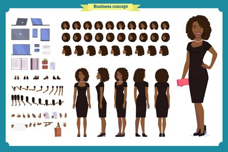 Black Girl in evening dress character creation set. Party woman in black trendy luxury gown. Full length, different views, gestures. Build your own design. Cartoon flat-style infographic illustration Ilustração