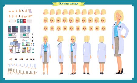 Scientist character creation set. Woman works in science laboratory at experiments. Full length, different views, emotions, gestures. Build your own design. Cartoon flat style infographic illustration Imagens - 132476346