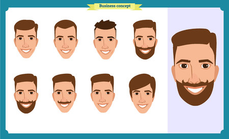 working people, business man avatar icons.Flat design people characters.Business avatars set. Isolated vector on white. Front, side, back.for design, animation.Smiling, Imagens - 127462019
