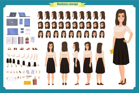 Pretty female office employee character creation set. Full length, different views, emotions gestures. Business casual women fashion. Build your own design. Cartoon flat-style infographic illustration Ilustração