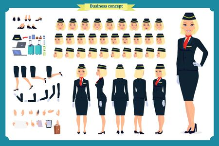 Woman character creation set. The stewardess, flight attendant. Icons with different types of faces and hair style, emotions, front, rear side. Vector flat illustration Imagens - 129489154