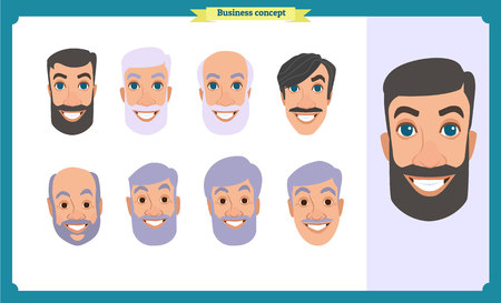 Group of people, business bearded men avatar icons.Flat design people characters.Business avatars set. Isolated vector on white. Face template for design, animation.Smiling, black.People characters