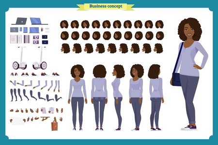 Young Black woman, casual clothes. Character creation set. Full length, different views, emotions, gestures, isolated against white background. Build your own design. Cartoon flat-style vector Imagens - 118807537