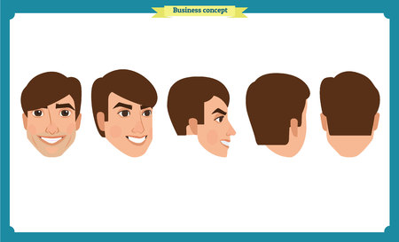 working people, business man avatar icons.Flat design people characters.Business avatars set. Isolated vector on white. Front, side, back.for design, animation.Smiling,