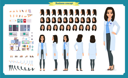 Set per la creazione del personaggio di scienziato. La donna lavora nel laboratorio di scienze agli esperimenti. Lunghezza intera, diversi punti di vista, emozioni, gesti. Crea il tuo design. Illustrazione di infografica stile piatto del fumetto