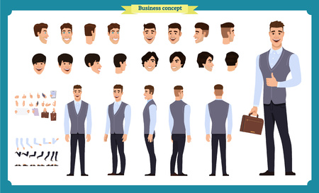 Business casual fashion. Front, side, back view animated character. Manager character constructor with various views, hairstyles, face emotions, poses and gestures. Cartoon style, flat vector isolated