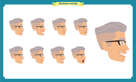 Set of male facial emotions. young man emoji character with different expressions Front, side, back view. Vector illustration isolated.People's faces, person.Male characters.businessman.Joy, laughter