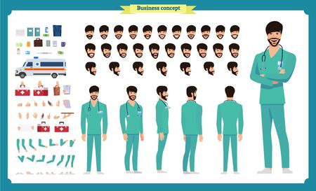 Front, side, back view animated character. Doctor character creation set with various views, face emotions, hairstyles, poses and gestures. Cartoon style, flat vector Isolated on white.Male dentists Imagens - 129489155