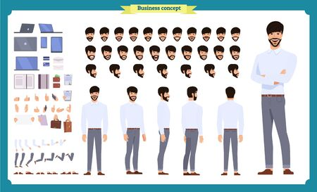 Front, side, back view animated character. Manager character creation set with various views, hairstyles, face emotions, poses and gestures. Cartoon style, flat vector illustration.People character Çizim