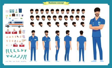 Front, side, back view animated character. Doctor character creation set with various views, face emotions, hairstyles, poses and gestures. Cartoon style, flat vector Isolated on white.Male dentists Imagens - 129489157