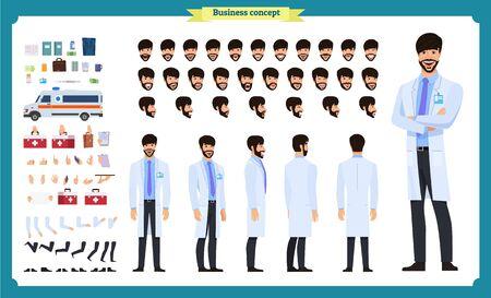 Animierter Charakter für Vorder-, Seiten- und Rückansicht. Doctor Character Creation Set mit verschiedenen Ansichten, Gesichtsemotionen, Frisuren, Posen und Gesten. Karikaturart, flacher Vektor lokalisiert auf weiß. Männliche Zahnärzte