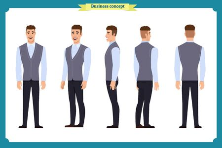 Business casual fashion.Young man for animation. Front, side, back, character. Parts of body. Cartoon style, flat vector illustration.Cartoon style, flat vector isolated